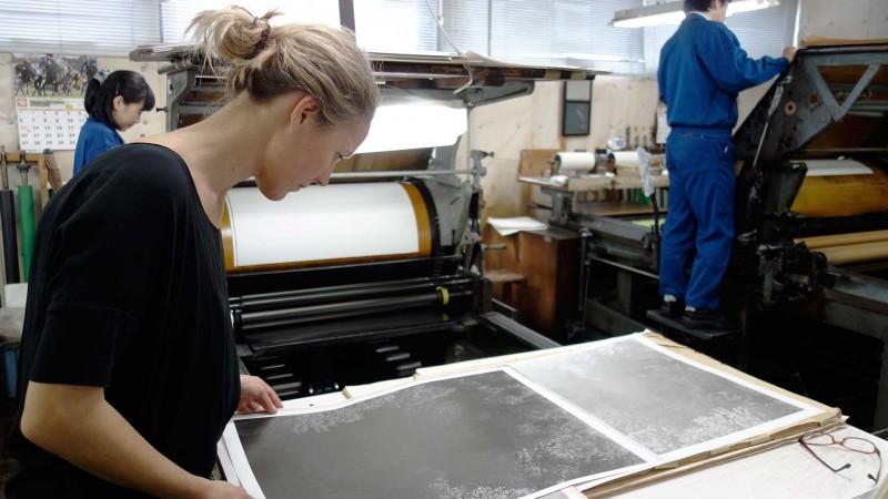 Inaugural Hariban Award Winner, Awoiska van der Molen, viewing her collotype proof prints. Benrido Atelier, Kyoto